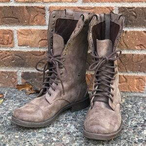 DOLLHOUSE DISTRESSED CONVERTIBLE MOTO BOOTS 8
